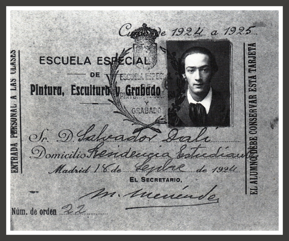 Salvador Dali's student card at the Royal Academy of Fine Arts in Madrid for the year 1924-1925