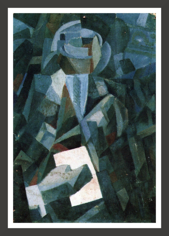0112-Cubist composition - Portrait of a seated person holding a letter (1923)
