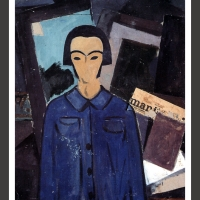 0128-Selfportrait with l'Humanité (1923)