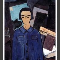 0128-Selfportrait with l'Humanité (1923)