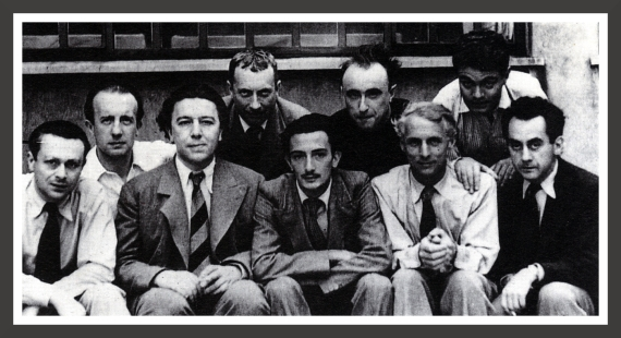 On this picture, members of the Surrealists group in Paris. From left to right: Tristan Tzara, Paul Eluard, André Breton, Jean Arp, Salvador Dali, Yves Tanguy, Max Ernst, René Crevel and Man Ray.
